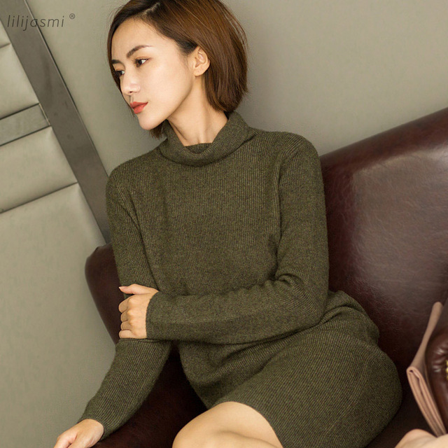2018 Winter Dress Women Turtleneck Turn-down Collar Cashmere Knit Dress  Thick Straight Solid Color Fisherman long Sweaters 9f873529e89b