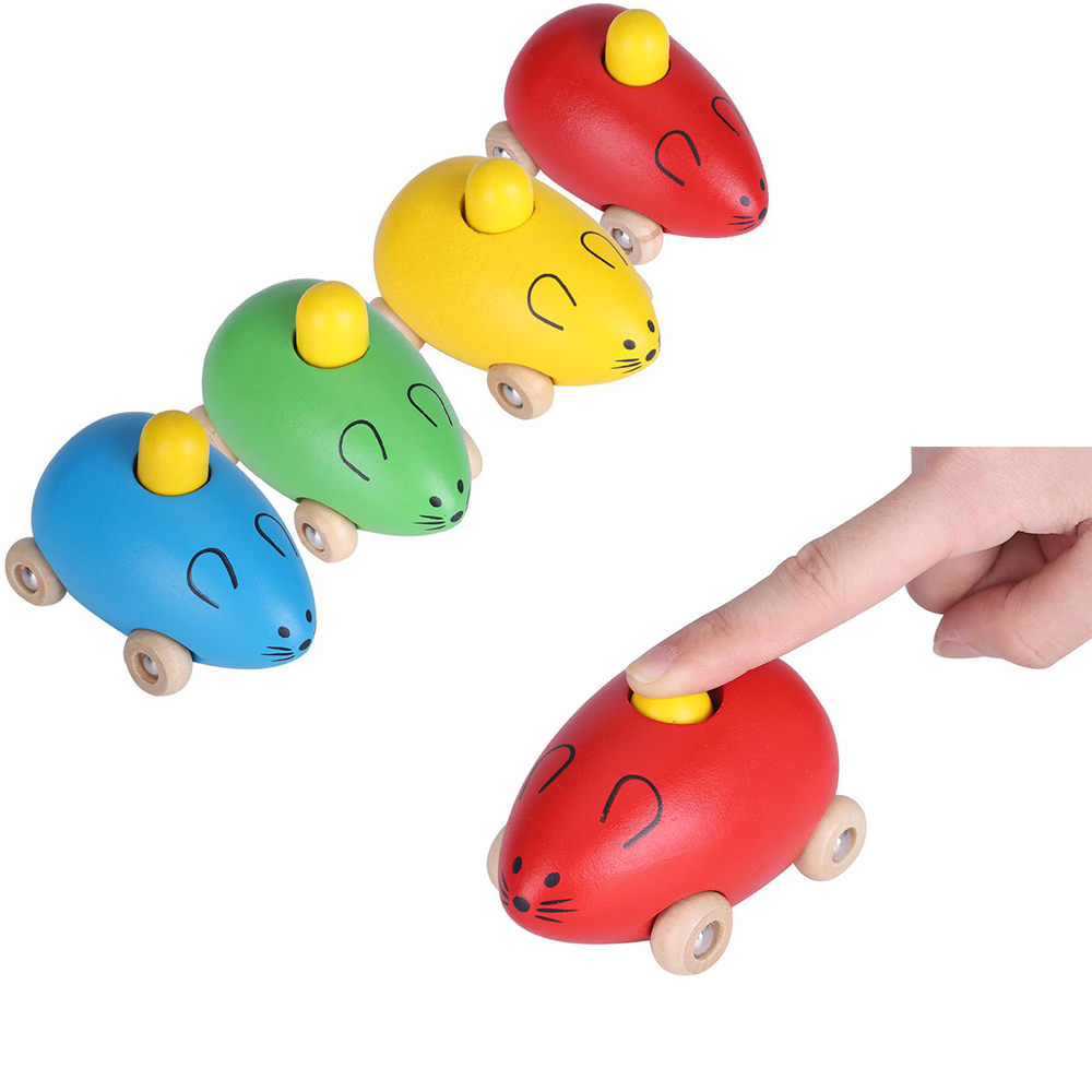 2018 Colorful Wooden Musical Mouse Animal Toys Car With Bb