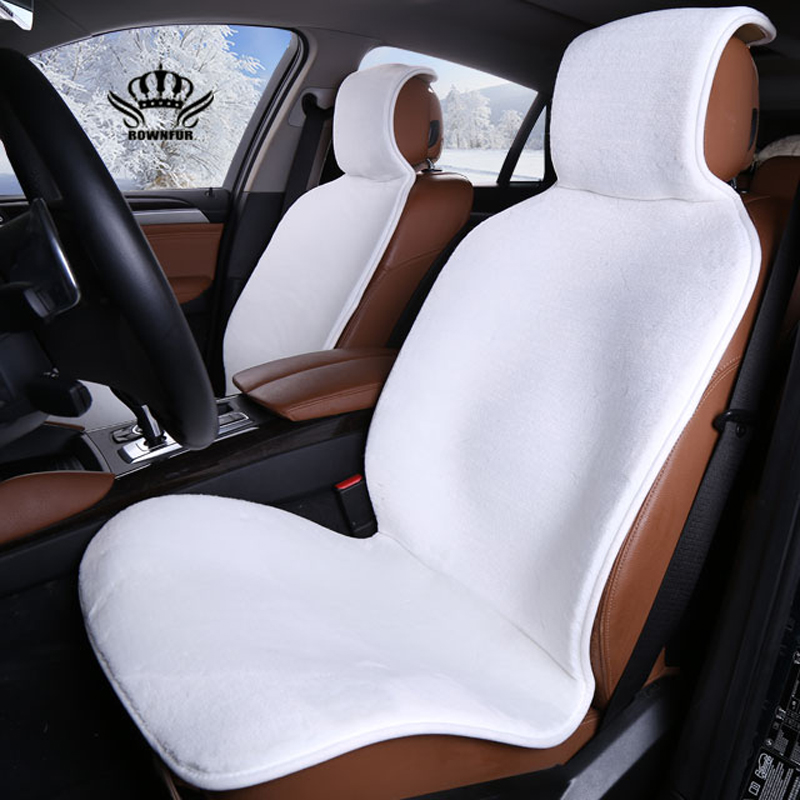 Faux Fur Car Seat Cover Winter White Universal Automotive Interior Artificial Fur Car Seat Cushion For Toyota BMW Kia Mazda Ford(China)