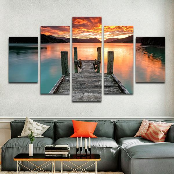 5 Pieces Printed Lake Sunset Sky Jump In The Lake Painting Canvas 5 Panels  Canvas Prints