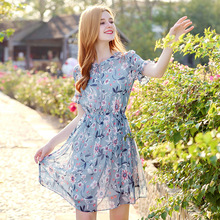 AcFirst Summer Women Blue Chiffon A-Line Dress O Neck Evening Party Holiday Ruffles Lady Sexy Plus Size Sweet Dresses
