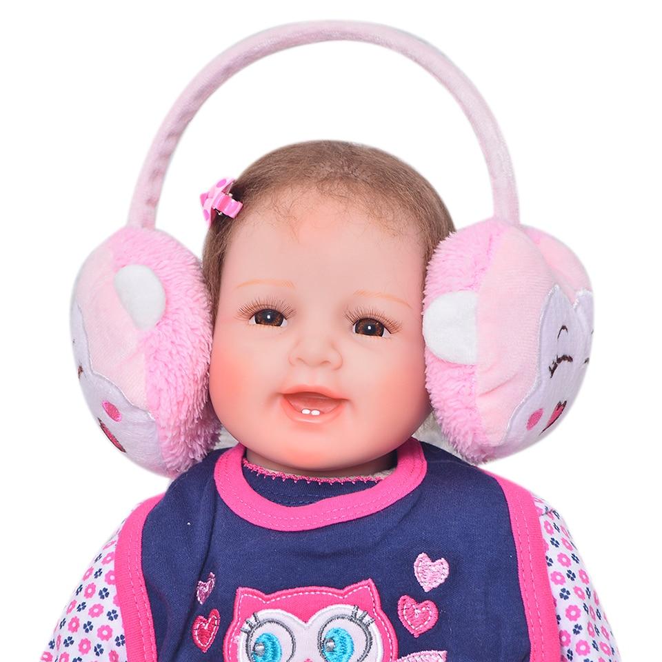 Fashion Newborn Dolls Mohair Rooted Realistic Soft Silicone Vinyl Reborn Babies 22'' Cloth Body Dolls Wear Ear cap Xmas Gifts цена 2017