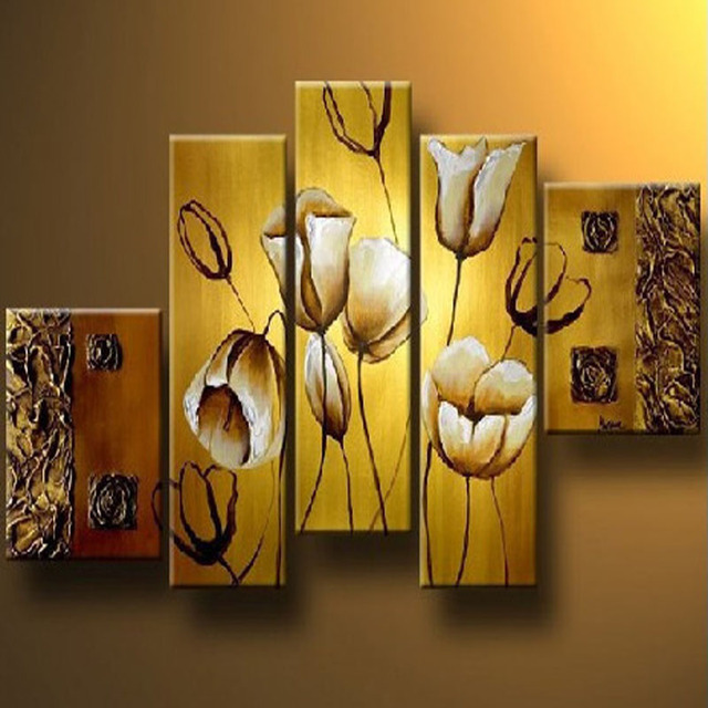 Hand painted modern abstract flower canvas wall art oil painting on ...