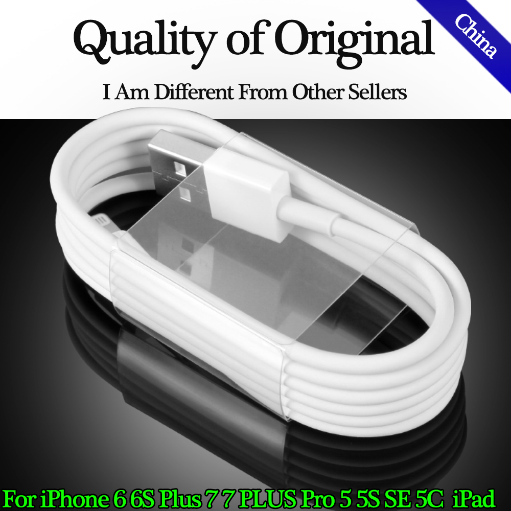 8pin font b USB b font 1M White Wire Date Sync Charging Charger Original Cable for