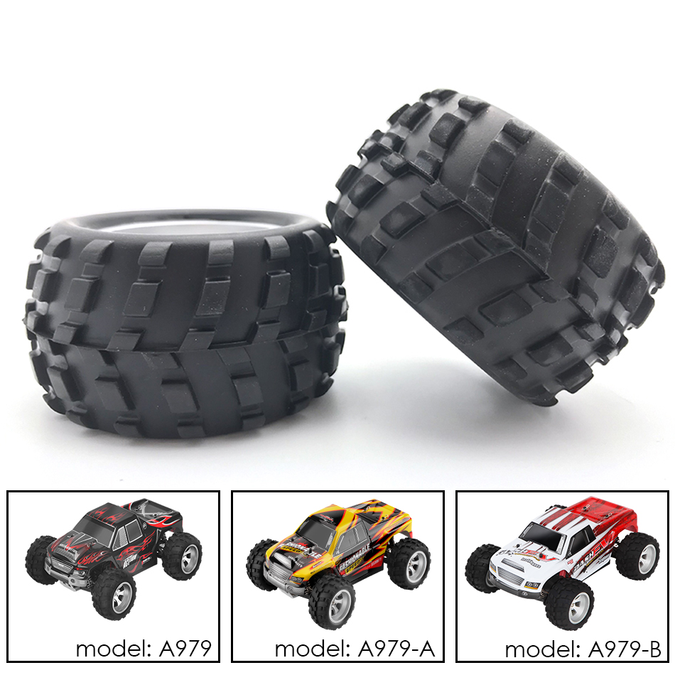 2pcs/pair Wheels with Tires Original WLTOYS Spare Parts For A979/ A979-A/ A979-B <font><b>1/18</b></font> RC Car <font><b>Accessories</b></font> image