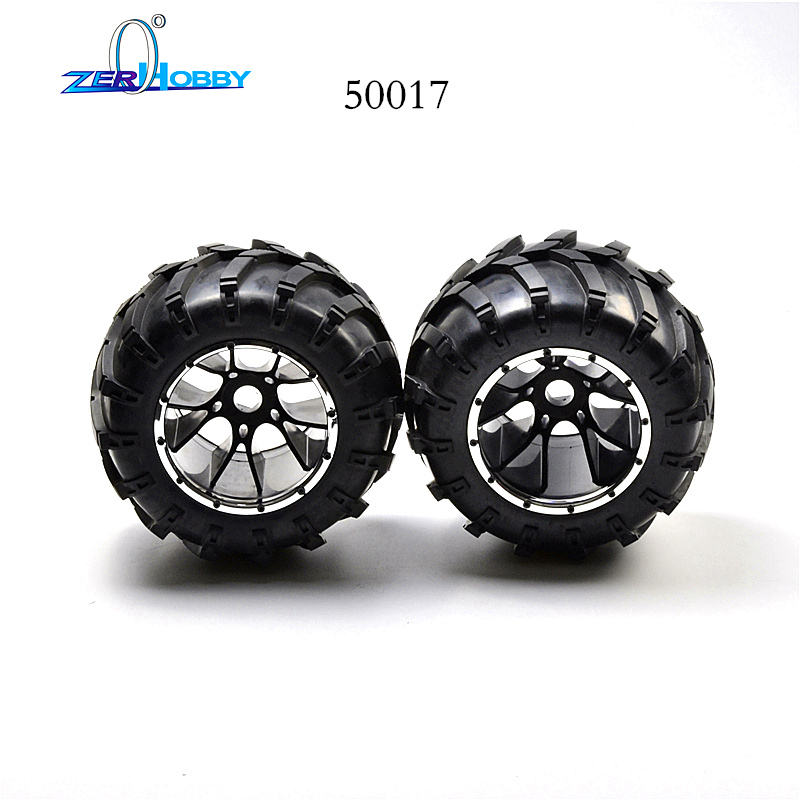 HSP Brand New 50017 Rubber Wheels Complete Set High Speed RC Off Road Car Spare Parts Wheel For HSP 1/5 Scale Monster Truck hsp 02024 differential diff gear complete 38t for 1 10 rc model car spare parts fit buggy monster