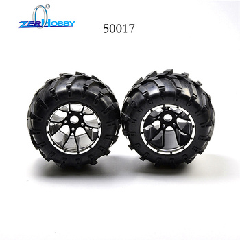 HSP Brand New 50017 Rubber Wheels Complete Set High Speed RC Off Road Car Spare Parts Wheel For HSP 1/5 Scale Monster Truck 2pcs hsp 860015 60034 aluminum linkages upgrade parts for 1 8 nitro off road monster truck rc model car blue rc car cnc 94762