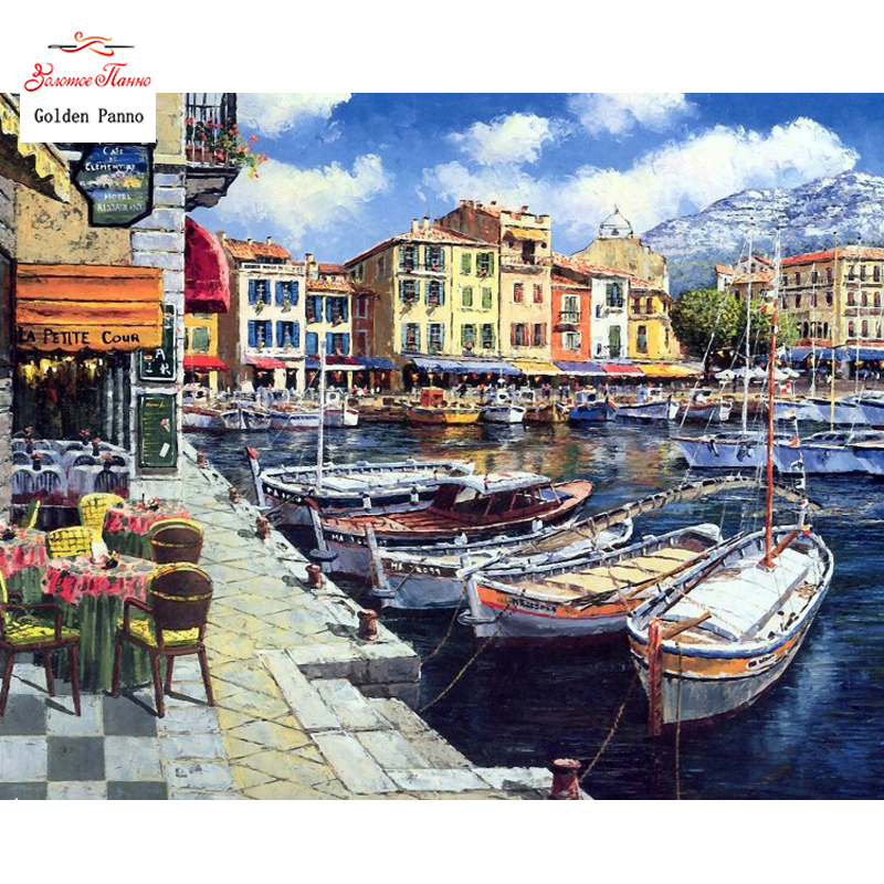 Golden Panno Needlework DIY DMC 14CT 11CT Printed Cross Stitch Embroidery Kits City And Boat White Canvas Counted 24
