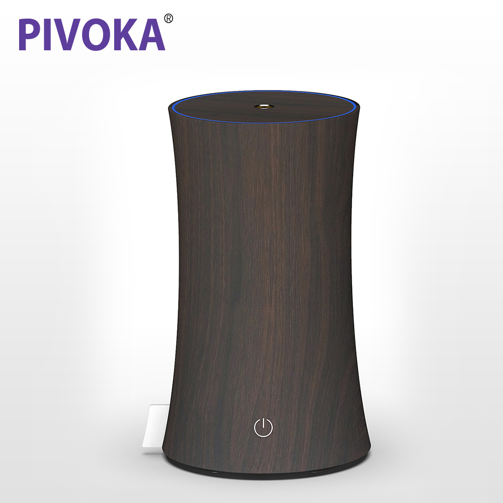 PIVOKA Ultrasonic Aroma Essential Oil Diffuser Air Humidifier with Wood Grain LED Night Light Mute for Home Air Moisturizer