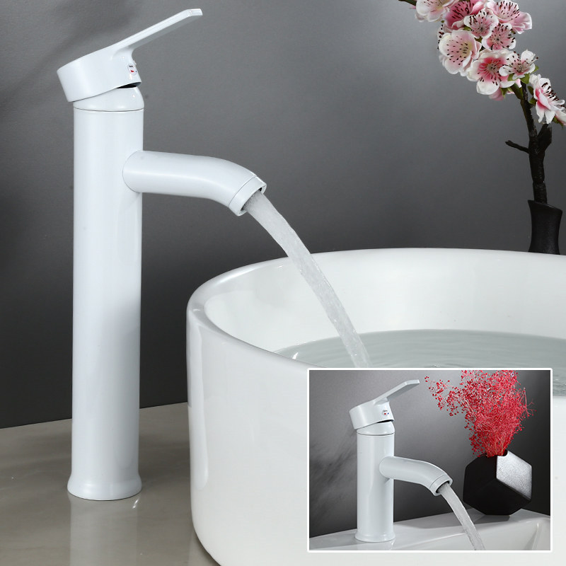 Bathroom Basin Faucets Brass White Sink Mixer Tap Bathroom Wash Basin Deck Mounted Single Handle Hot Cold Faucet TorneiraBathroom Basin Faucets Brass White Sink Mixer Tap Bathroom Wash Basin Deck Mounted Single Handle Hot Cold Faucet Torneira