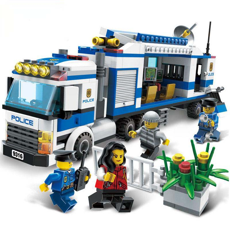 GUDI Police Mobile Statition Action Model Building Blocks Set 407Pcs Bricks Classic Educational Toys For Children Gifts gudi the swat raid terrorists dens police command center assault vehicle educational building blocks best toys gifts for kids