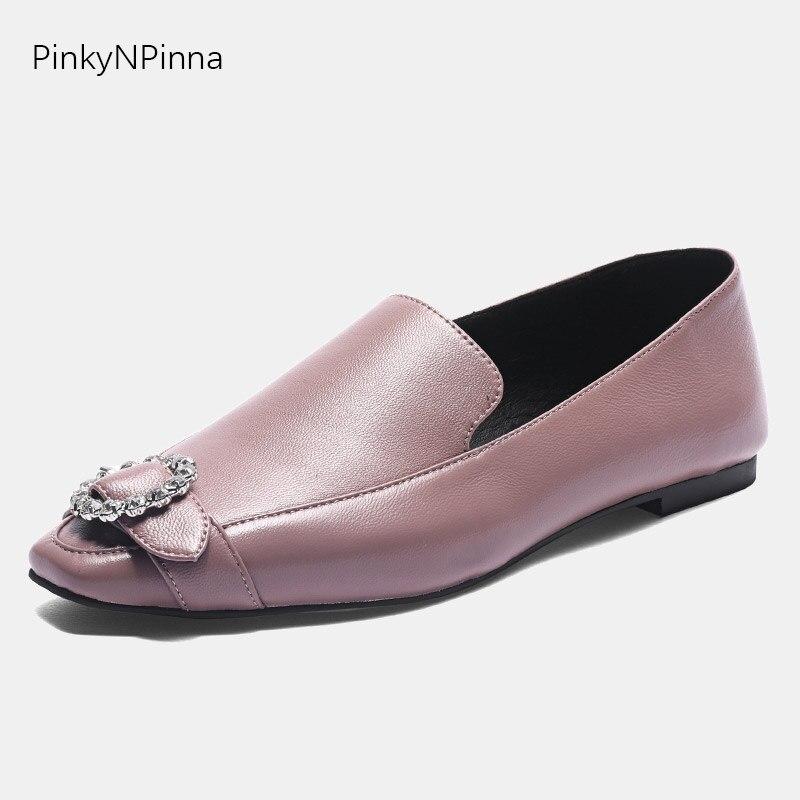 Femmes haute qualité en cuir mocassins sans lacet rose doux en peau de mouton semelle intérieure chaussures plates cristal orteil boucle décontracté bureau grande taille 44