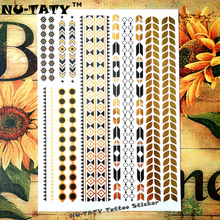 Nu-TATY 24 Style Temporary Tattoo Body Art, Golden Geometric Chain Designs, Flash Tattoo Sticker Keep 5 Days Waterproof 21x15cm