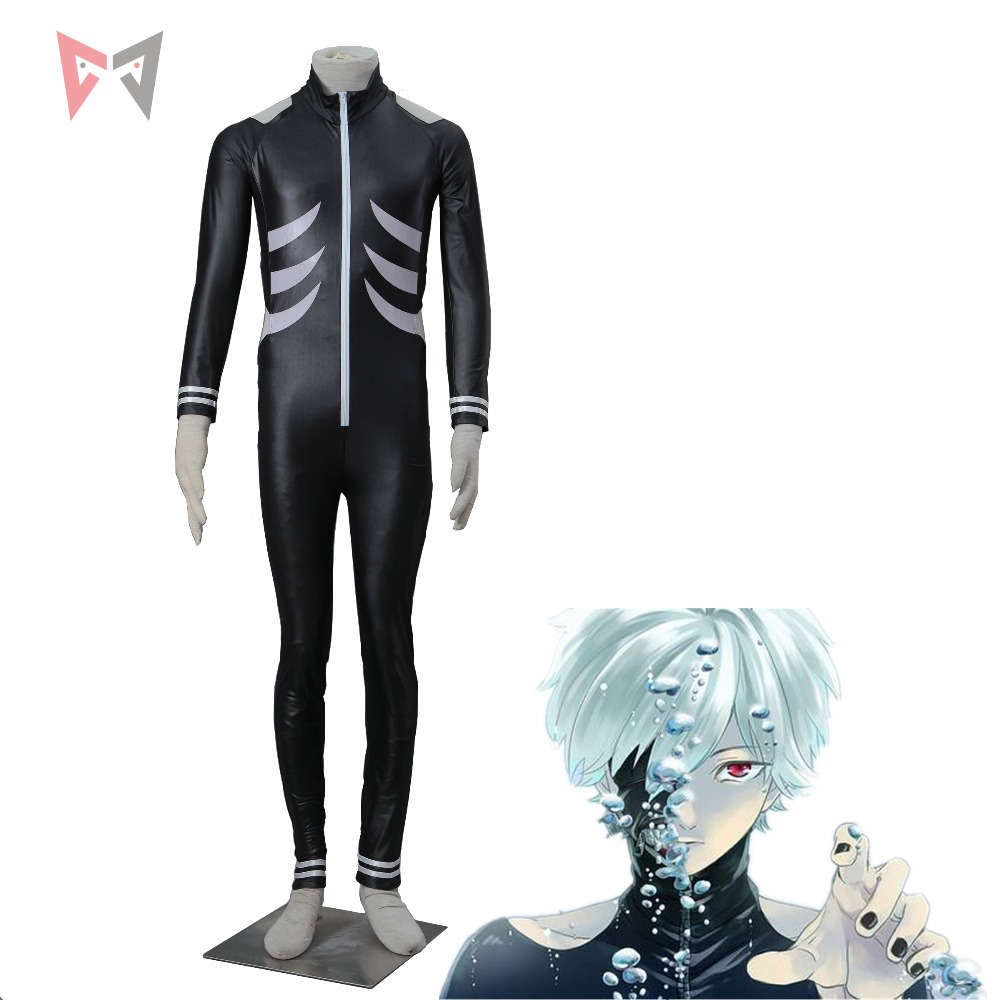 Tokyo Ghoul cosplay kaneki ken anime Cosplay Costume  jumpsuits black leather outfit plus size set