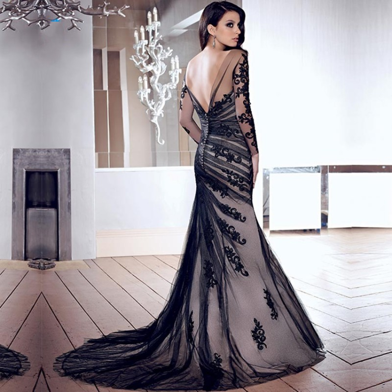 92fc9a063ea Sexy Black Lace Custom Evening Dress Tulle Boat Neck Backless Wedding Gown  Long Sleeve Mermaid Prom Customized-in Evening Dresses from Weddings    Events on ...
