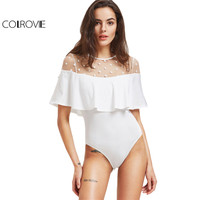COLROVIE Ruffle Mesh Bodysuit Women White Polka Dot Mesh Neck Patchwork Sexy Bodysuits 2017 Summer Keyhole