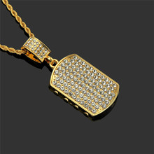 Golden hip hop necklace Zircon small military brand tide male domineering pendant Personality trend support a generation of hair