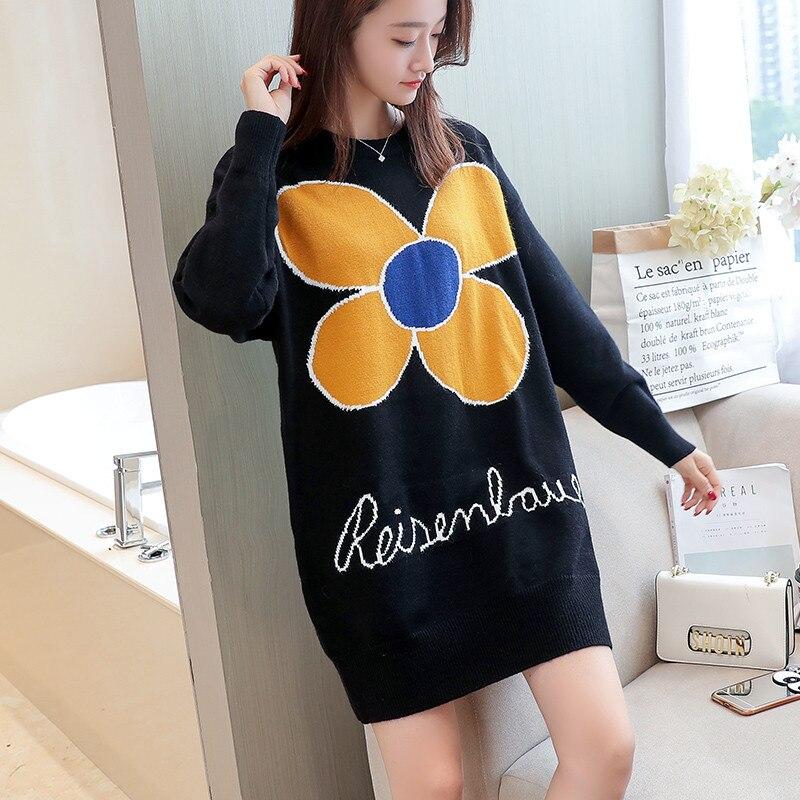 Новинка весны для женщин свитер пуловеры для повседневное теплые модные длинные дизайн женский вязаный Пуловеры с кошками - Цвет: Черный