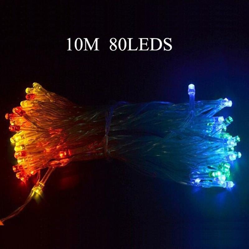 10M 80-LEDs 3-Mode Battery Powered LED Holiday String Lights For Christmas Festival Party Fairy Colorful Xmas LED String Lights