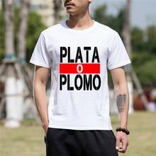 Nuevo verano Camisetas de manga corta de los hombres ropa de Plata O Plomo  Narcos Pablo Escobar Plata O Plomo algodón divertido . 7019cb8acb8
