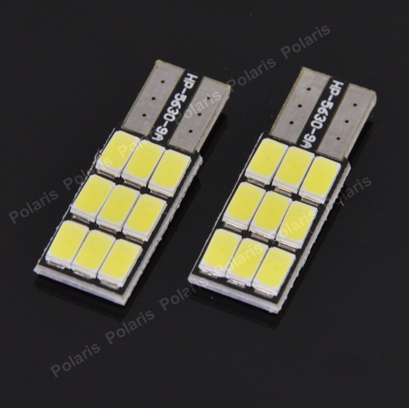2Pcs Canbus Error Free T10 W5W 9 LEDs 194 501 Auto Bulbs 5630 SMD Car Interior lights No Electrode Marker Lamps DC 12V лампа для чтения newsun t10 9 smd 5050 canbus w5w