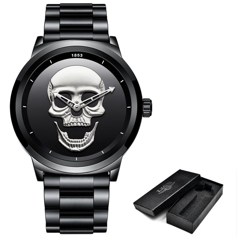 New 3D Skull Men Watch Top Brand Luxury High Quality Stainless Steel Quartz Watch Waterproof Sports Casual Fashion Clock Relogio high quality 30 m waterproof effort new men fashion luxury famous brand men s leather strap sports watch multi time zones