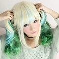 Harley Quinu Девушки Мода Длинные Волнистые Синий И Зеленый Цвета, Термостойкие Синтетические Волосы Аниме Косплей Парик В Хорошем качестве