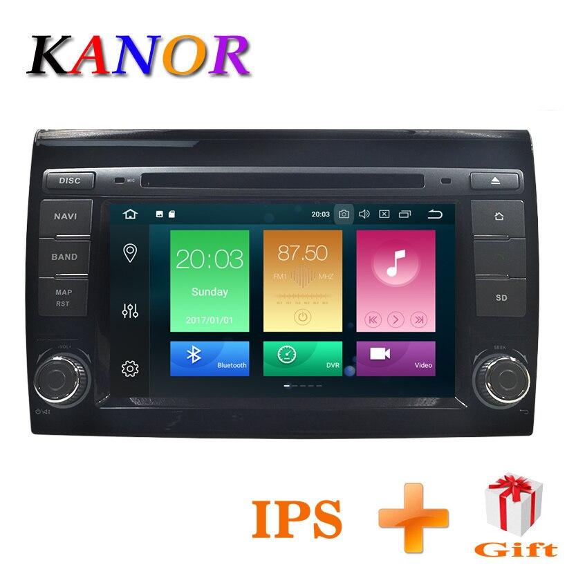 Lecteur multimédia de voiture KANOR Android 8.0 GPS 2 Autoradio Din pour Fiat Bravo 2007 2008 2009 2010 2011 2012 CANBUS 4 GB RAM FM