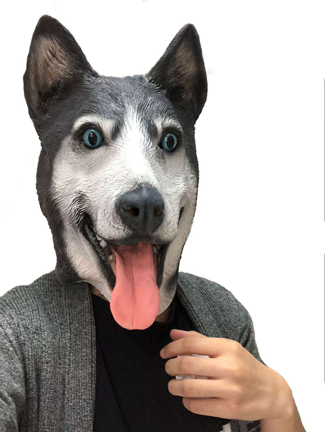 Deluxe WOLF DOG NOSE Rubber Animal Mask Toy Funny Fangs Teeth Wild Dog Black
