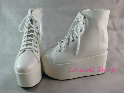 Punk shoes Big shoes / special custom shoes The thick white bottom bright high lacing shoes custom 1381-1 platform punk shoes big shoes special custom shoes black and white thick bottom tie bright leather heels platform customized 1304 2