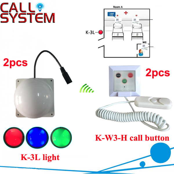 Modern device Wireless nurse calling system 2 room light receiver with 2 bell buzzer for elder use wireless pager system 433 92mhz wireless restaurant table buzzer with monitor and watch receiver 3 display 42 call button