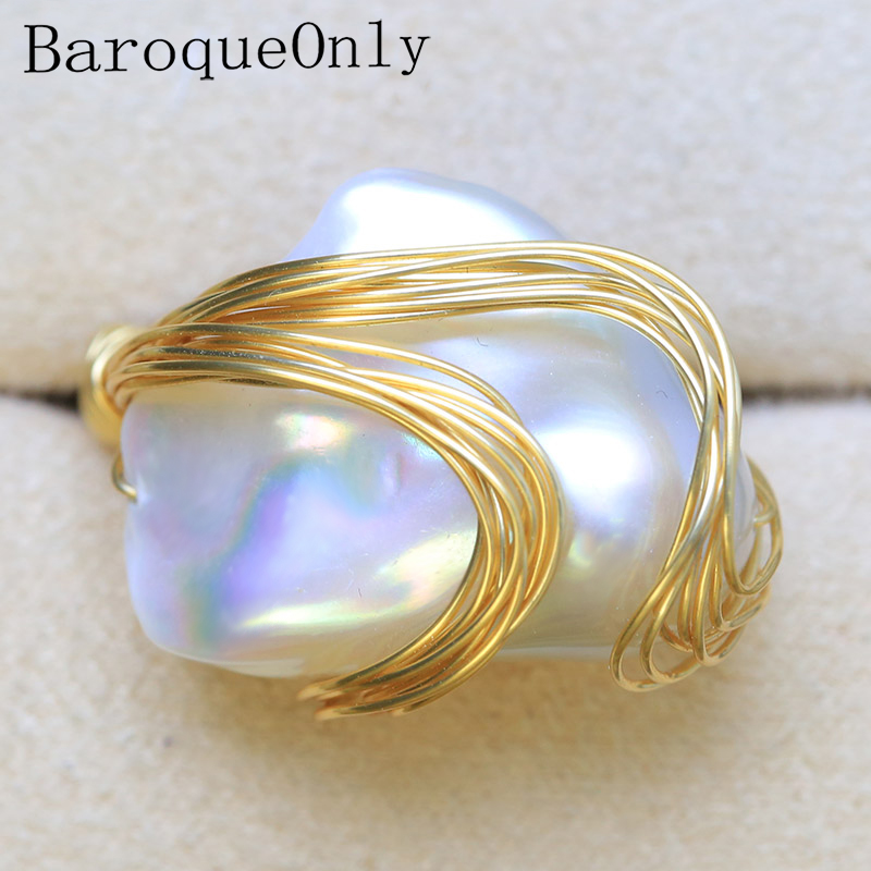 BaroqueOnly Handmade Natural FreshWater White Pearl Big Baroque Beads Wire Wrapped Rings Fashion Woman Party RO1 baroqueonly naked pair beads purple big size high quality flat beads natural fresh water pearl for earring making bcz 2