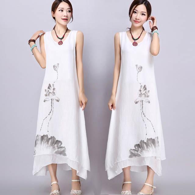 f318d05bf2 placeholder Beautiful 2018New Summer Cotton Linen Women Dresses Ink Art  Print Loose Casual A-line Designs