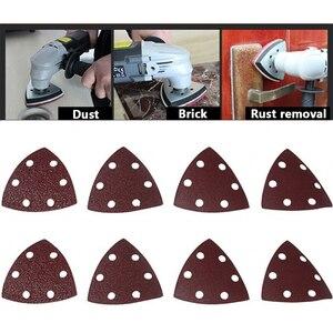 Image 5 - 삼각형 6 구멍 자체 접착 사포 90mm 델타 샌더 모래 종이 후크 및 루프 사포 디스크 연마를위한 연마 도구