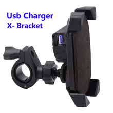 X- Bracket Motorcycle Handlebar Mount Holder Telescopic Phone Holder With Usb Charger Charging For Cellphone GPS
