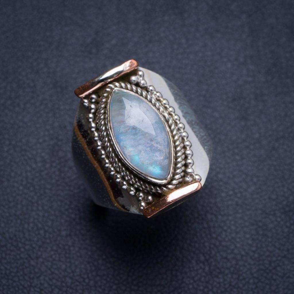 Natural Rainbow Moonstone Handmade Unique 925 Sterling Silver Ring 7 Y4556 natural rainbow moonstone handmade unique 925 sterling silver ring 6 75 y4681
