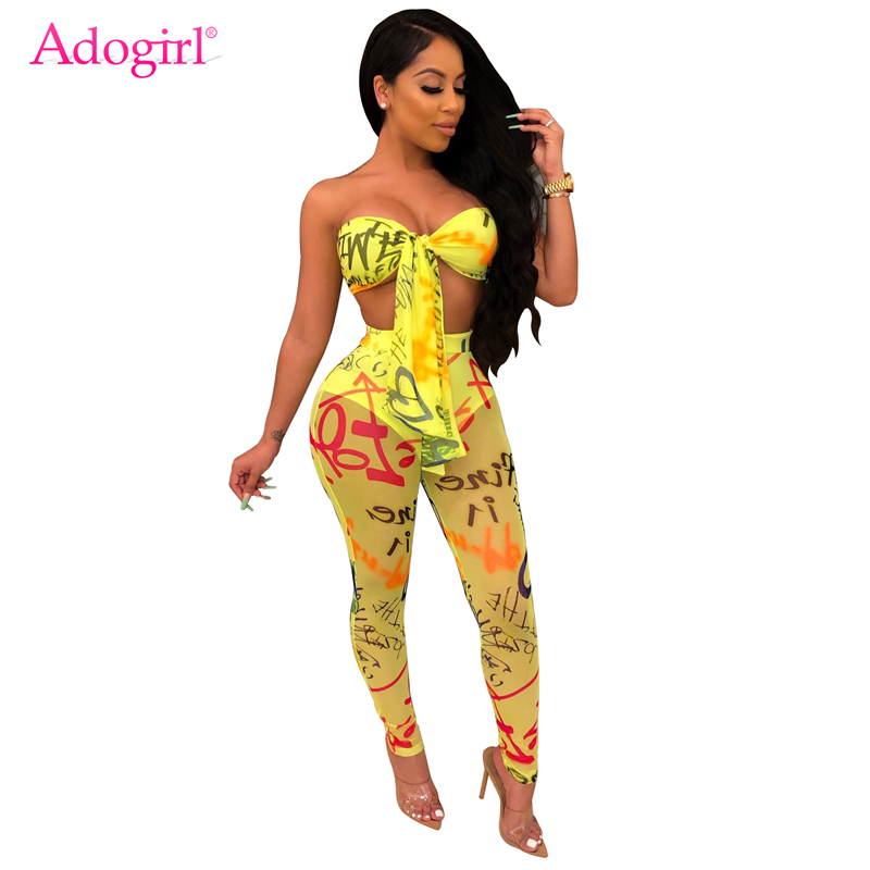 Adogirl Graffiti Letter Print Women Sexy Two Piece Set Front Tie Strapless Crop Top + Sheer Mesh Pencil Pants Club Outfits