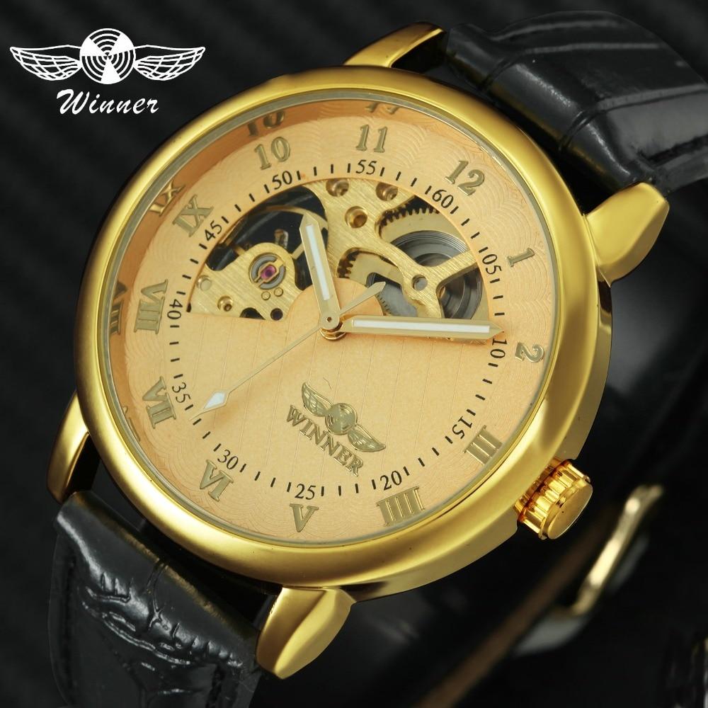 a1b1a0b383a57 الفائز أعلى العلامة التجارية الفاخرة الرجال الميكانيكية ووتش مضيئة الأيدي  جولة الهيكل العظمي ووتش جلدية حزام الذكور ساعة اليد تصميم فريد