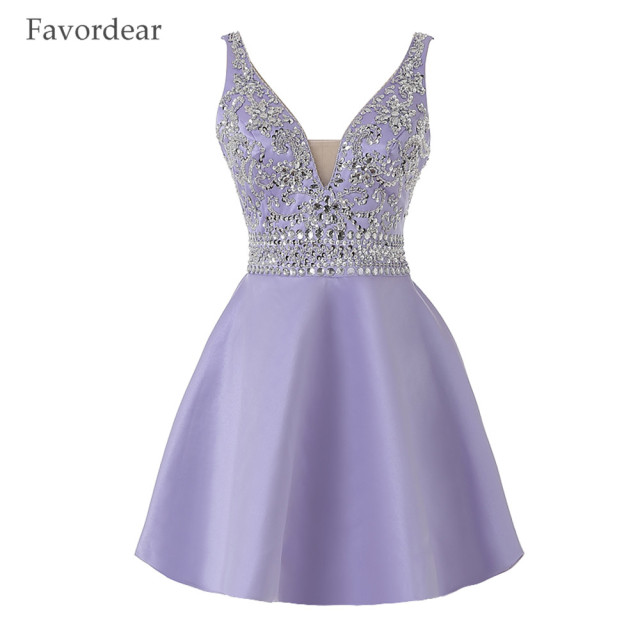 Favodear New Fasion Blue Corset Back Homecoming Dress Tulle Short Purple Prom  Dresses Sparkly Ball Gown Cocktail Dresses 6410d54c4902