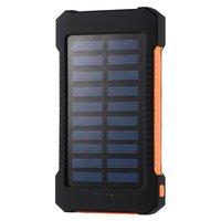 Solar Power Bank 10000mAh Large Capacity Dual USB Powerbank Waterproof LED Light External Battery Charger Pover