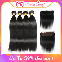 Wonder Beauty Peruvian Straight Hair Ear To Ear 13x4 Lace Front Closure With Bundles Human Hair 3 Bundles With Frontal Non Remy