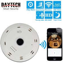DAYTECH Wireless IP Camera WiFi Panoramic Surveillance Camera 1.3MP Baby Monitor 360 Degree Angle Fisheye IR Night Vision VR03