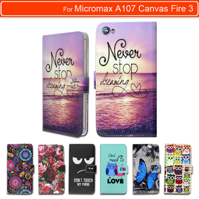 100% Special Luxury PU Leather Flip Cartoon wallet case Book case for Micromax A107 Canvas Fire 3,gift