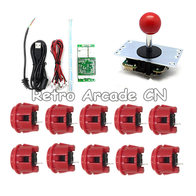 DIY Arcade Game Joystick handle kits set with PS4 USB encoder 24mm & 30mm push buttons USB cable to Build Up PS4 game joystickDIY Arcade Game Joystick handle kits set with PS4 USB encoder 24mm & 30mm push buttons USB cable to Build Up PS4 game joystick