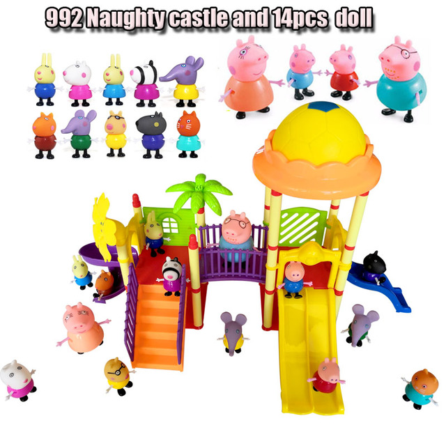 Peppa Pig Figures toys Series of Amusement park Toys PVC Action Figures Family Member peppa pig Toy Baby Kid Birthday Gift