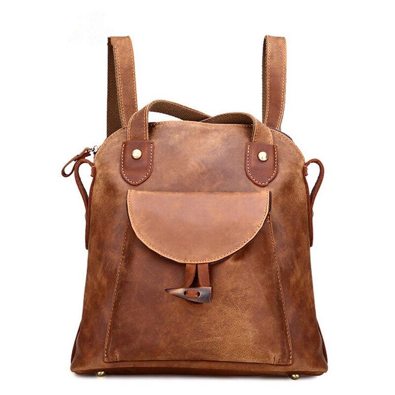 Sacs à dos en cuir véritable femmes sacs à dos Vintage femmes sac à dos d'école de haute qualité en cuir de cheval fou voyage Style décontracté
