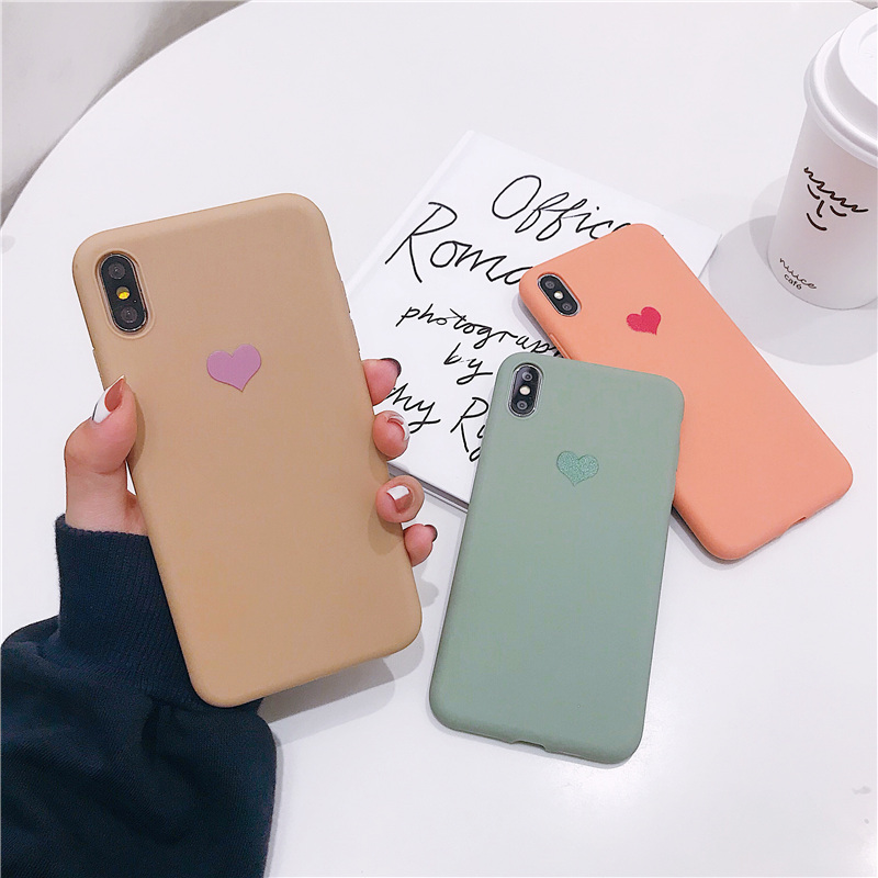 Cuddly heart print plain case for iphone x love silicone soft matte candy color cover iPhone 6 6s 7 8 plus xs msx bag