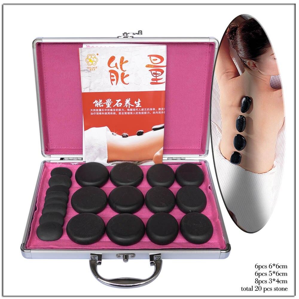 20pcs/set Hot Stone Massage Body Massage Stone Set Heat Box Relieve Stress Back Pain Health Care Acupressure Lava Basalt Stones