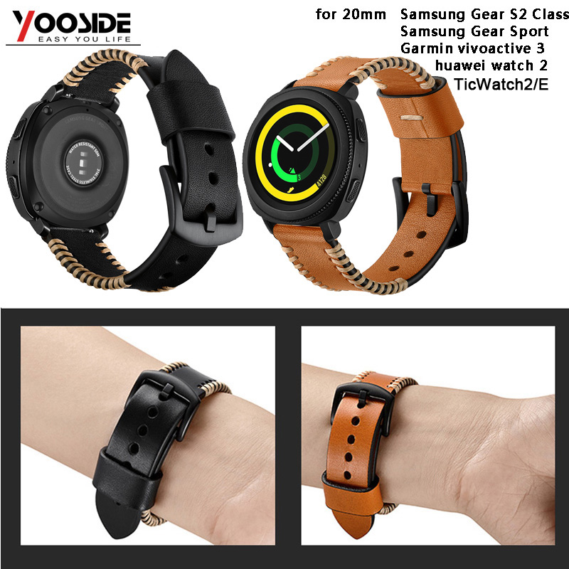 US $14 69 21% OFF|20mm Soft Handmade Leather Strap Watch Band for Samsung  Gear Sport/TicWatch2/E for Huawei Watch2/for Garmin vivoactive 3/Music-in