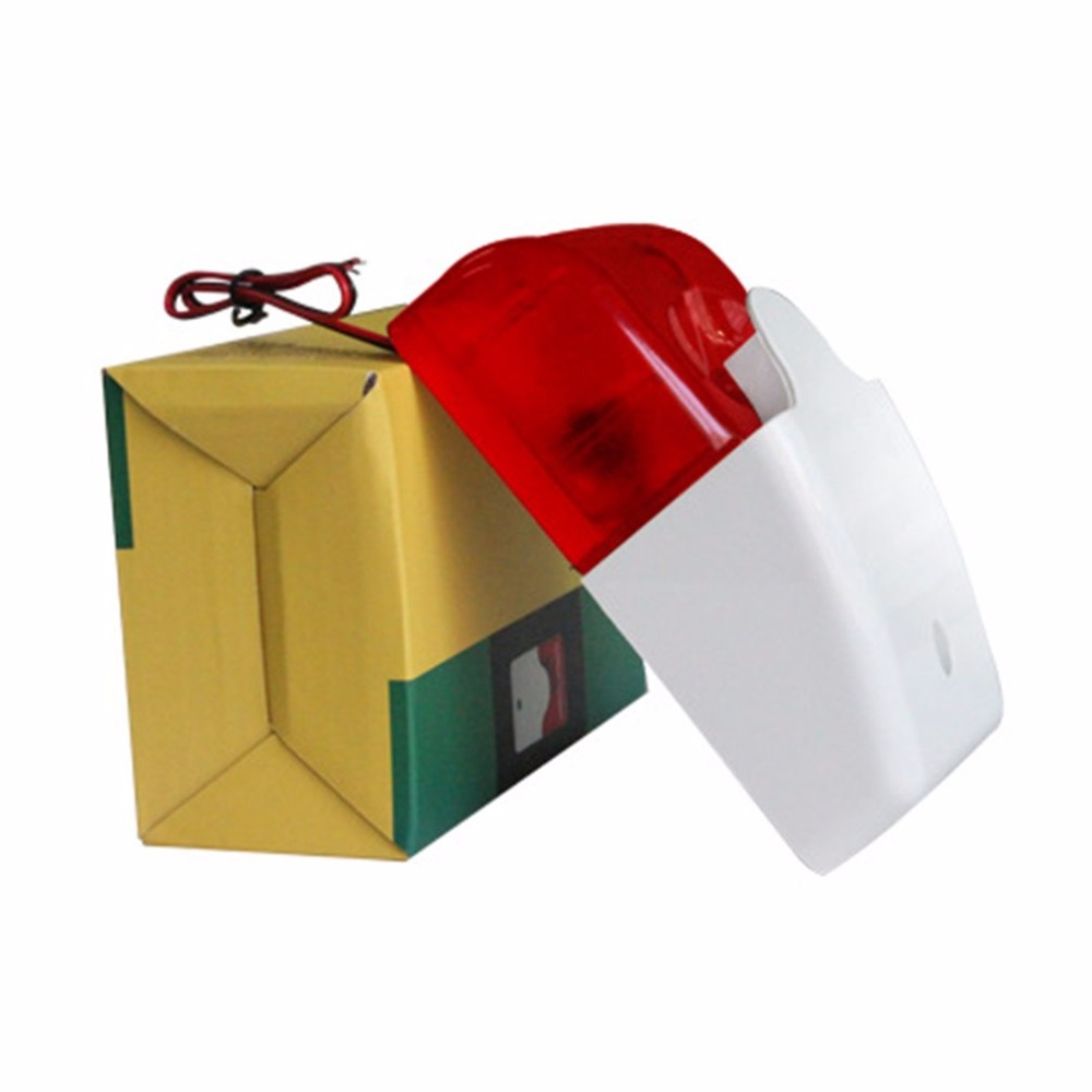 Wired Strobe Siren Practical Alarm Strobe 12V Flashing Red Light Sound Siren Home Office Security Alarm System 110dB